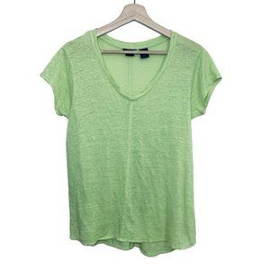 Tahari Top Size M 100% Linen Shirt V-neck